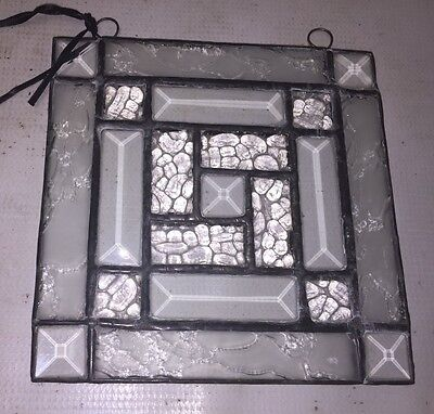 Pretty White Square Textured STAINED GLASS Window Hanging Panel - SUNCATCHER