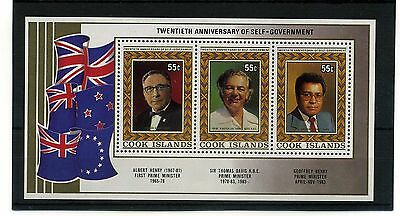 Cook Islands.unmounted Mint Min Sheet. 20Th Ann Of Self Government