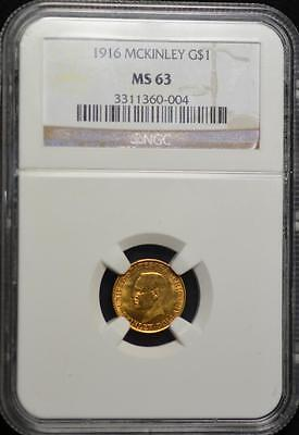 1916 Mckinley Gold $1.00 MS-63 NGC FREE SHPPING!!!!