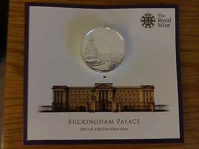 Royal Mint Buckingham Palace £100 fine silver coin 2015