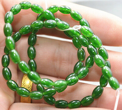 4x6mm Natural Green Emerald Gemstone Rice-shaped Loose Beads 15""