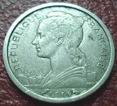 1959 French Somaliland Franc In Vf-Ef Condition