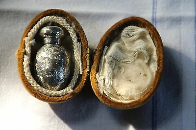 Solid silver Charles May miniature egg shaped perfume bottle with orginal case