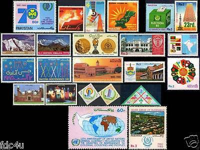 Pakistan Stamps 1985 Year Pack Girl Guides Mountains Hockey Map Flag
