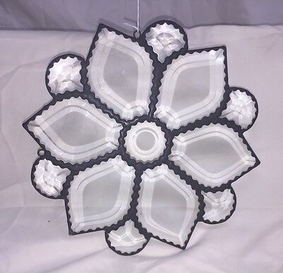 Beautiful White Flower Bevelled  STAINED GLASS Window Hanging Panel - SUNCATCHER