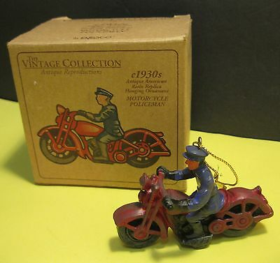 RETRO *NOS* vintage 1930s MOTORCYCLE POLICEMAN ORNAMENT ~ reminiscent of HUBLEY!