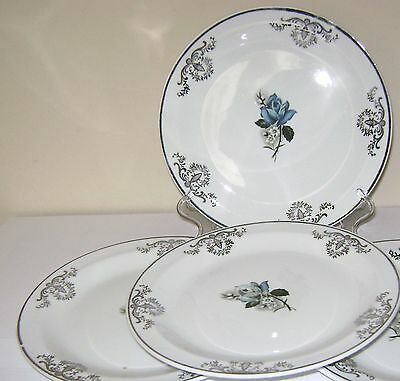 3 Alfred Meakin tea plates, Glo white Ironstone.  Blue rose to centre.