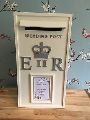 Cream Wedding Post Box With Grey/Silver Letters