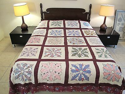 Vintage Hand Sewn Feed Sack APPLIQUE DRESDEN PLATE Quilt TOP, Novelty Fabrics