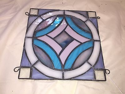 Purple and Blue Geometric STAINED GLASS Window Hanging Panel - SUNCATCHER