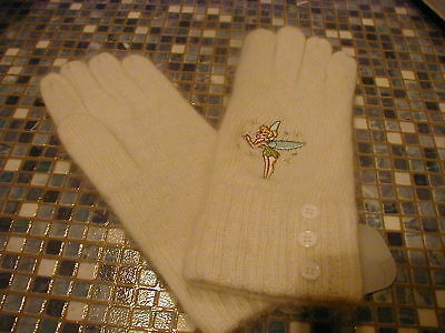 Disney Store Tinkerbell Embroidered Angora/wool Gloves Brand New