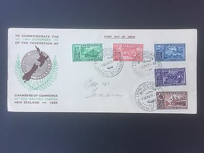 NEW ZEALAND, 1936, First Day Cover, Chambers of Commerce, 5 Stamps