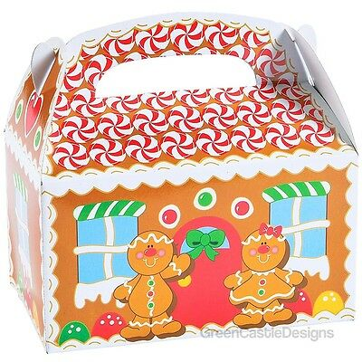 24 Christmas Party Favor Holiday Treat Boxes Gingerbread House Cookie Candy Gift