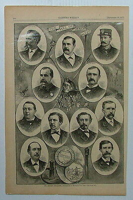 1877 Harpers Weekly Antique Wood Engraving New York Fire Department Honor Roll