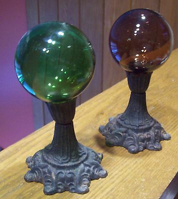 Old Cast Iron Metal Candle Holders with Two Colored Glass Balls