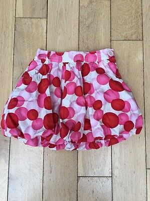 Hennes H&m Girls Skirt Puff Ball Red Pink Circles Lined Eu 116