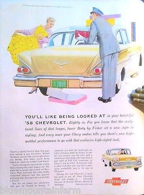 1958 Yellow Chevrolet Chevy Car Auto Vintage Large Print Ad Original Americana