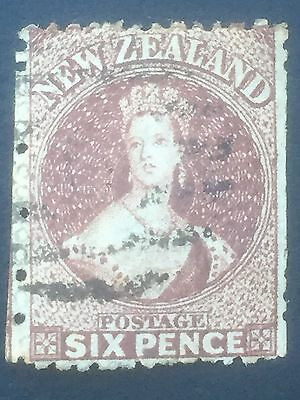 NEW ZEALAND, CHALON,  6d Brown, Large Star Watermark, Perforated, Used