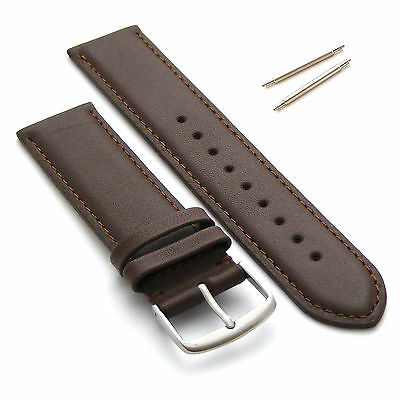 Genuine Leather Watch Strap Band 20mm Brown / Brown   Extra Long XL