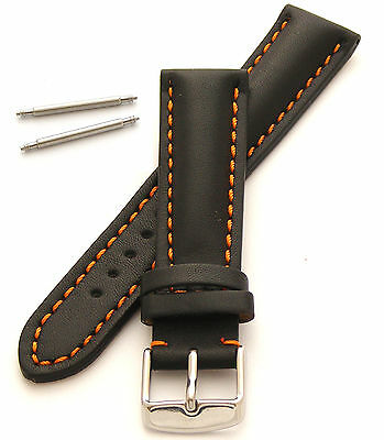 Genuine Leather Watch Strap Heavy Padded 18mm Orange Stitching with Spring Bars
