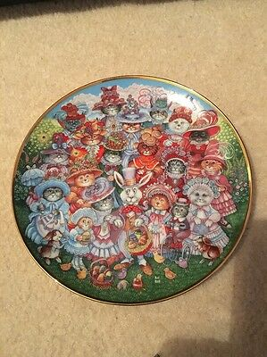 Lovely Franklin Mint Cat Plate Designed By Bill Bell. Easter Purrade