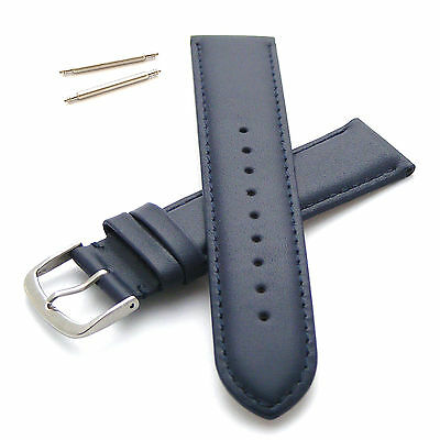 Genuine Leather Watch Strap Band 22mm Blue / Blue   Extra Long XL