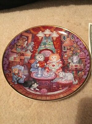 Lovely Franklin Mint Cat Plate Designed By Bill Bell. A Purrfect Feast