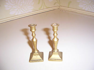 Pair Of Brass Miniature Candlesticks