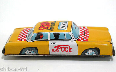 "Vintage Ichimura Yellow Taxi Cab Friction Toy Metal Car Tin 5"" Japan 60's"