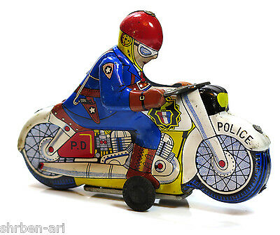 Vintage Old POLICE Motorcycle Bike Tinplate Friction Retro Toy Japan C1960's