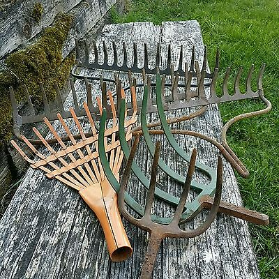 Mixed Lot 6 true Vintage Rusty Garden Tool 2 pitchfork 4 Rake Heads child rake