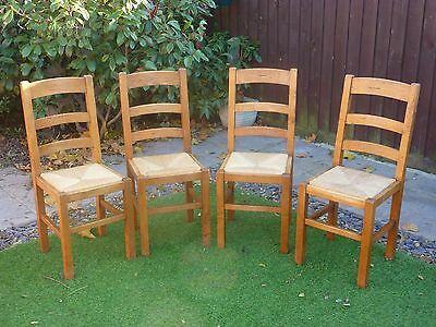 Antix Set Of 4 Solid French Oak Farmhouse Ladderback Dining Chairs Rustic