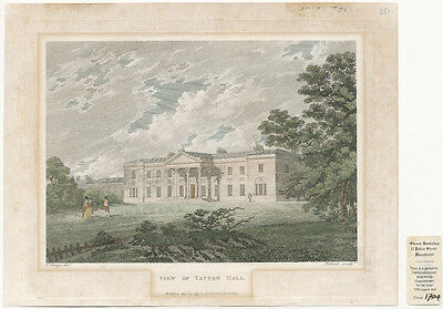 View of Tatton Hall Antique Engraving 1794
