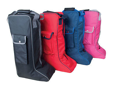 Rhinegold Long Boot Bag Travel Storage 4 Colours Red Blue Black Pink Free P&P