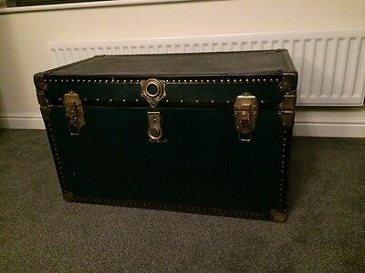 Vintage Antique Blue Brass Studded Steampunk Trunk Chest Industrial Coffee Table