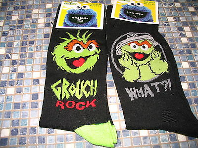 Oscar The Grouch Sesame Street Mens Black Socks Size 6 T0 11  Brand New!