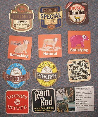 Collection of 12 vintage Youngs of Wandsworth advertising beermats 1970's+