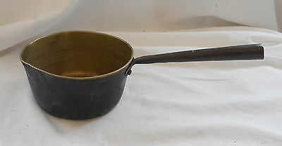 Retro VINTAGE 1960s HEAVYWEIGHT BRASS SAUCEPAN Cooking Camping PANS 15cm