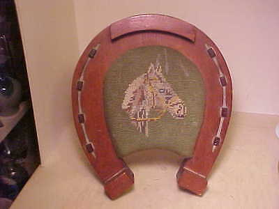 Vintage Equestrian 1940's Horse Shoe Foot Stool Needlepoint Horse