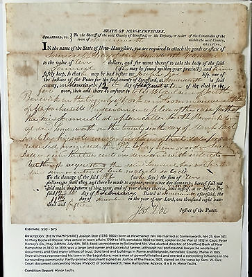 WAR 1812 NEW HAMPSHIRE FEDERALIST LEADER Doe-Faces PARTY COURT DOCUMENT SIGNED !