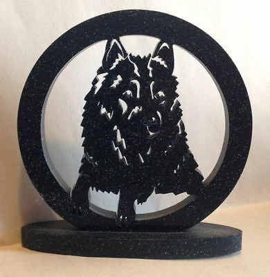 Schipperke Faux Marble Collectible Standing Plaque - Round