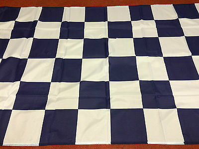 """Chequered Flag Navy Blue And White Large Flag 5ft X 3ft 60"""" x 36"""""""