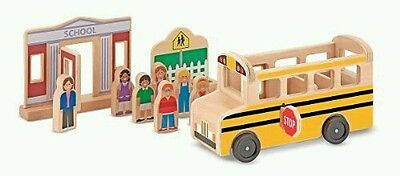 Melissa & Doug Whittle World School Bus Set Toy Kids Play Game Child Learn New