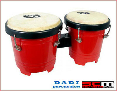 "Dadi Percussion Dadi 4½"" & 5"" Red Mini Bongo Drums Natural Skins Bongos New"