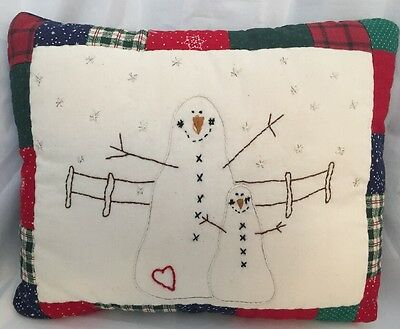 "Hand Embroidered Snowman Christmas Pillow 11"" X 8"""