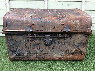 Vintage Metal Cargo Ship Travel Steamer Storage Trunk Toy Box Side Table 1940s