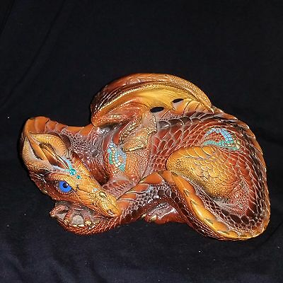 Beautiful Vintage 1985 Windstone Editions Mother Dragon Turquoise Stones PENA