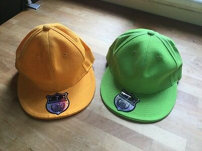 2 X Summer Baseball Caps. Size Medium. Orange And Green. Never Worn. Colourful.