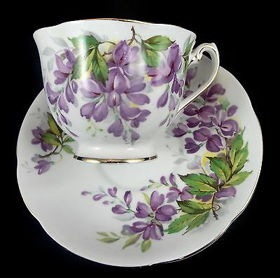 Royal Standard WISTARIA Bone China Cup and Saucer White/Purple/Green/Gold