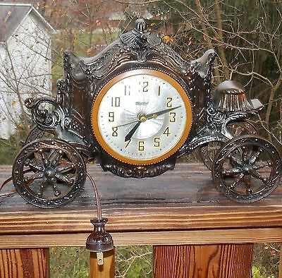 Vintage United Clock Corp  Buggy/Carriage Mantle Electric Clock ~ Working